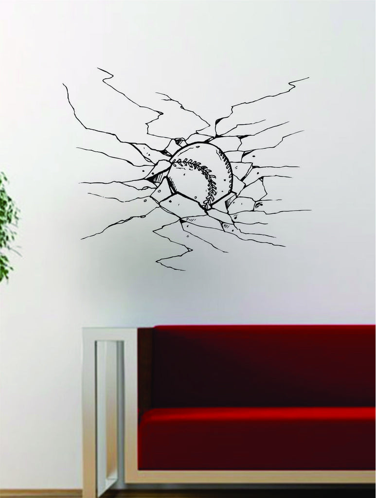 Baseball Cracked Wall Design Decal Vinyl Art Sticker Sports Decor Room MLB