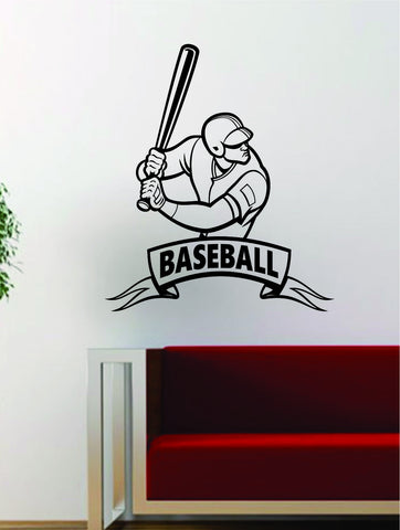 Baseball Player v9 Banner Batter Home Run Decal Wall Vinyl Art Sticker Sports Decor Room MLB - boop decals - vinyl decal - vinyl sticker - decals - stickers - wall decal - vinyl stickers - vinyl decals