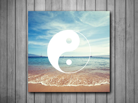 Beach Yin Yang Art Background Photo Panel - Durable Finish - High Definition - High Gloss - boop decals - vinyl decal - vinyl sticker - decals - stickers - wall decal - vinyl stickers - vinyl decals