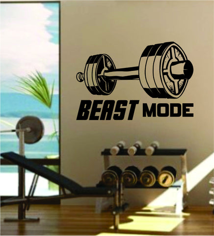 Beast Mode V3 Quote Fitness Health Work Out Gym Decal Sticker Wall Vinyl Art Wall Room Decor Weights Dumbbell Motivation Inspirational