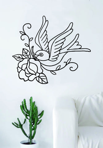 Bird Rose Tattoo Wall Decal Sticker Room Art Vinyl Home House Decor Traditional Swallow Love Beautiful