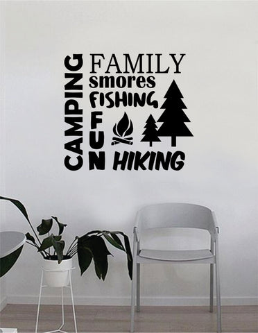 Camping Wall Decal Quote Home Room Decor Decoration Art Vinyl Sticker Inspirational Motivational Adventure Teen Travel Wanderlust Explore Family Trees Hike Camp