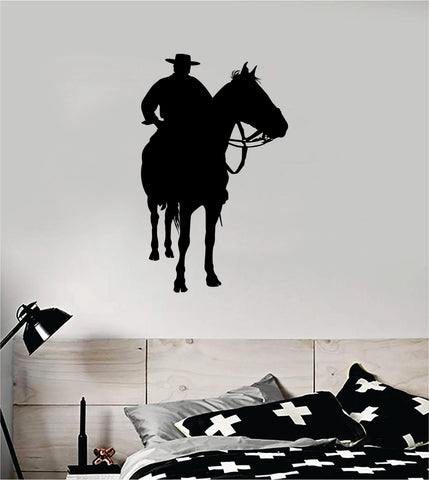 Cowboy Horse V3 Animal Wall Decal Sticker Vinyl Home Decor Art Rodeo Farm Southern American Country