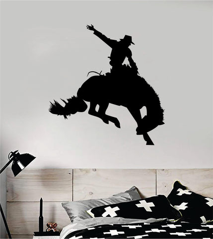 Cowboy Horse V4 Animal Wall Decal Sticker Vinyl Home Decor Art Rodeo Farm Southern American