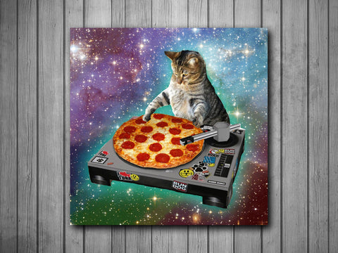 DJ Pizza Cat Space Music Art Background Photo Panel - Durable Finish - High Definition - High Gloss