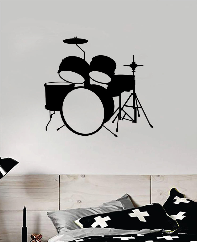 Drumset V6 Wall Decal Home Decor Bedroom Room Vinyl Sticker Art Music Drums  Drummer Band Kids Teen