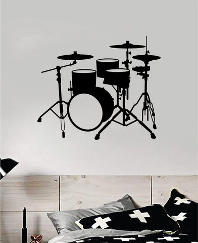 Drumset V7 Wall Decal Home Decor Bedroom Room Vinyl Sticker Art Music Drums Drummer Band Kids Teen