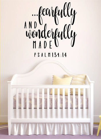 Fearfully Wonderfully Made Psalm Quote Wall Decal Sticker Bedroom Home Room Art Vinyl Inspirational Teen Decor Religious Bible Verse God Blessed Baby Nursery