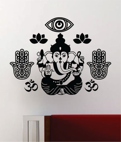 Ganesha Hamsa Hand Lotus Flower Om Wall Decal Home Decor Art Sticker Vinyl Bedroom Room Teen Yoga Meditate Zen Breathe Buddha Eye