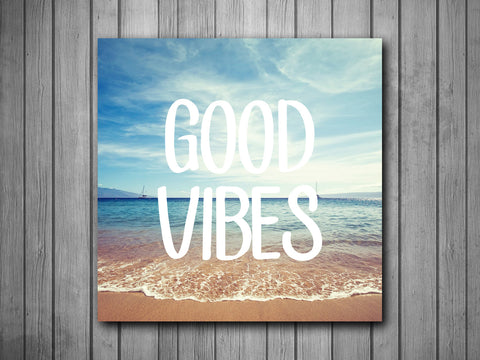 Good Vibes Beach Art Background Photo Panel - Durable Finish - High Definition - High Gloss