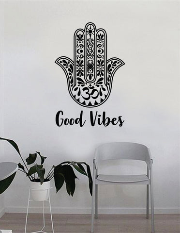 Good Vibes Hamsa V6 Quote Wall Decal Sticker Bedroom Home Room Art Vinyl Inspirational Decor Positive Om Namaste Meditate