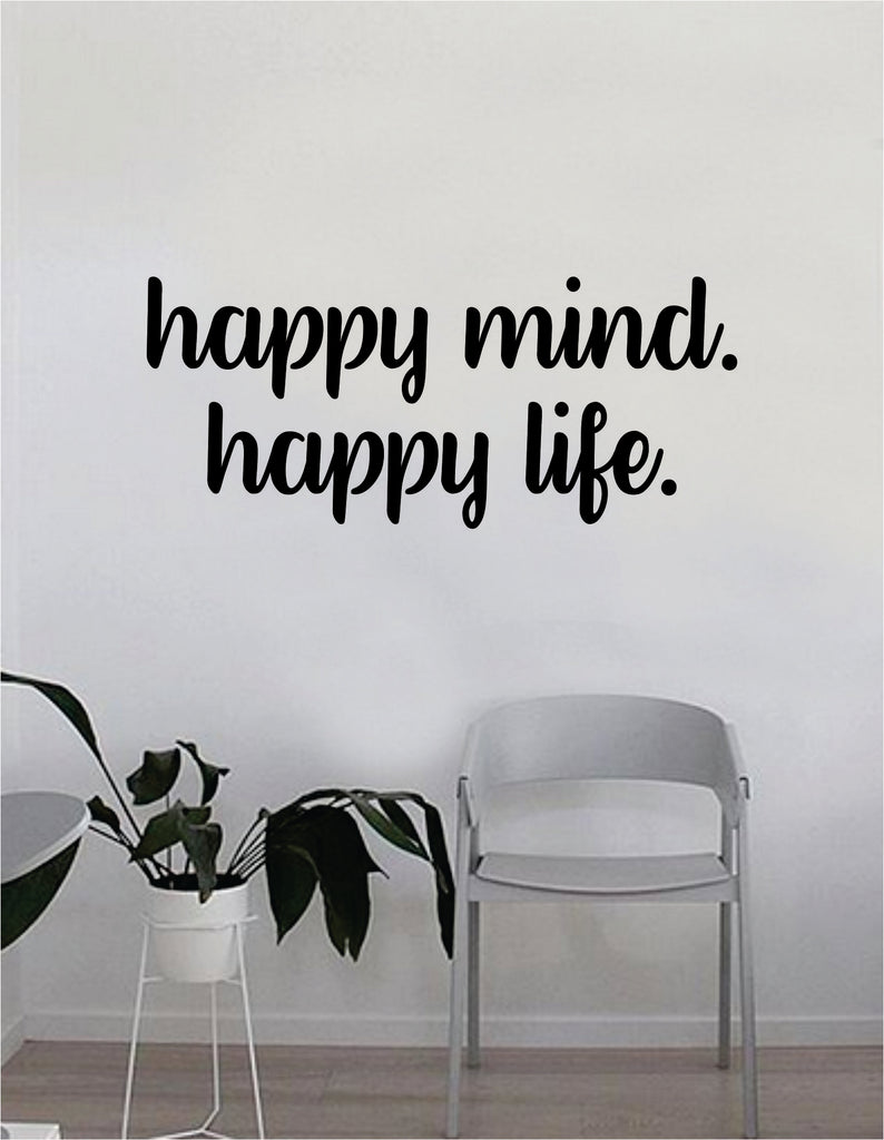 Happy Mind Happy Life Quote Wall Decal Sticker Bedroom Home Room Art