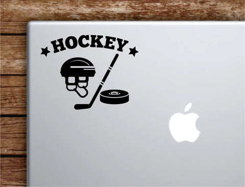 Hockey V2 Laptop Wall Decal Sticker Vinyl Art Quote Macbook Decor Car Window Truck Kids Baby Teen Inspirational Girls Boys Sports Winter Ice Skate