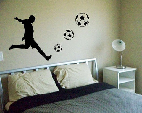 Soccer Player Kicking Ball Sports Decal Sticker Wall Vinyl - boop decals - vinyl decal - vinyl sticker - decals - stickers - wall decal - vinyl stickers - vinyl decals