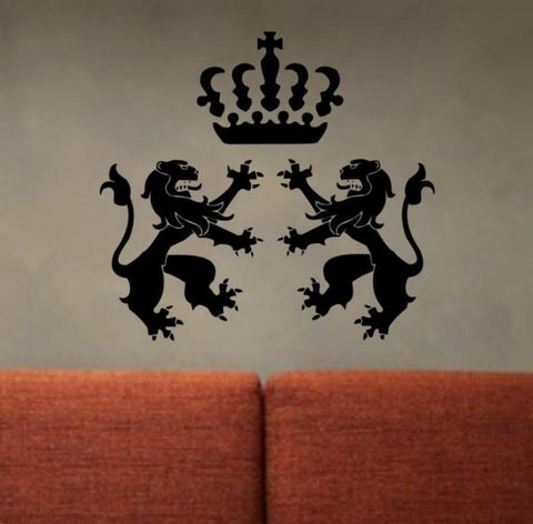 Lions and Crown Design Animal Decal Sticker Wall Vinyl Decor Art