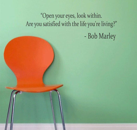Bob Marley Quote Open Your Eyes Decal Quote Sticker Wall Vinyl Art Decor - boop decals - vinyl decal - vinyl sticker - decals - stickers - wall decal - vinyl stickers - vinyl decals