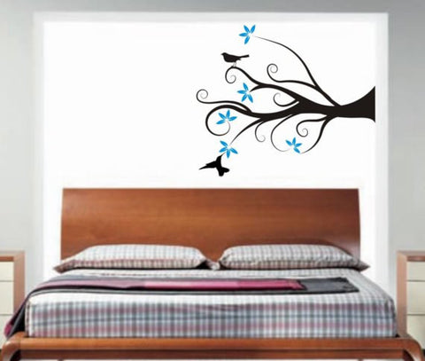 Funky Tree Branch with Flowers and Birds Decal Sticker Wall Vinyl Art Home Room Decor - boop decals - vinyl decal - vinyl sticker - decals - stickers - wall decal - vinyl stickers - vinyl decals