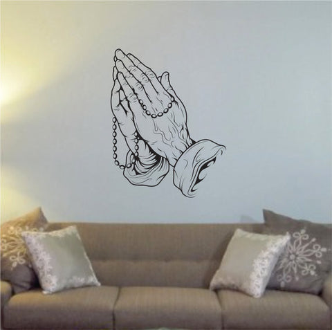 Praying Hands Religious Decal Sticker Wall Vinyl Art Home Room Decor