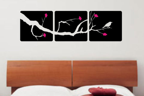 3 Box Panel with Branch Flowers and Bird Decor Nature Decal Sticker Wall Vinyl Art Design - boop decals - vinyl decal - vinyl sticker - decals - stickers - wall decal - vinyl stickers - vinyl decals