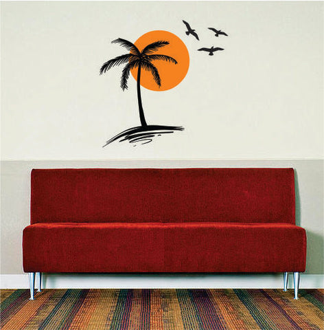 Palm Tree Sun and Birds Scene Decor Nature Decal Sticker Wall Vinyl Art Design - boop decals - vinyl decal - vinyl sticker - decals - stickers - wall decal - vinyl stickers - vinyl decals