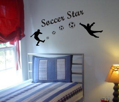 Soccer Players Shooting Goal Sports Decal Sticker Wall Vinyl - boop decals - vinyl decal - vinyl sticker - decals - stickers - wall decal - vinyl stickers - vinyl decals