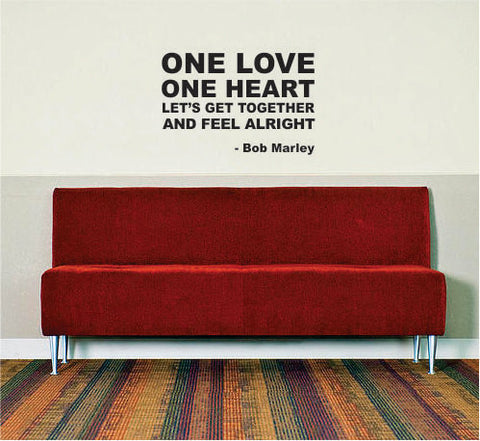 Bob Marley One Love One Heart Decal Quote Sticker Wall Vinyl Art Decor - boop decals - vinyl decal - vinyl sticker - decals - stickers - wall decal - vinyl stickers - vinyl decals