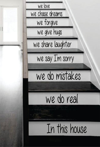 In This House Stairs Decor Decal Sticker Wall Vinyl Art - boop decals - vinyl decal - vinyl sticker - decals - stickers - wall decal - vinyl stickers - vinyl decals