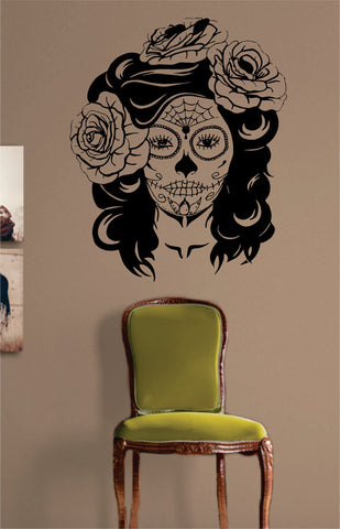 Day of the Dead Girl Skull Mask Art Decal Sticker Wall Vinyl - boop decals - vinyl decal - vinyl sticker - decals - stickers - wall decal - vinyl stickers - vinyl decals