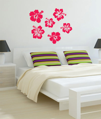 Hibiscus Flowers Decor Nature Decal Sticker Wall Vinyl Art Design - boop decals - vinyl decal - vinyl sticker - decals - stickers - wall decal - vinyl stickers - vinyl decals