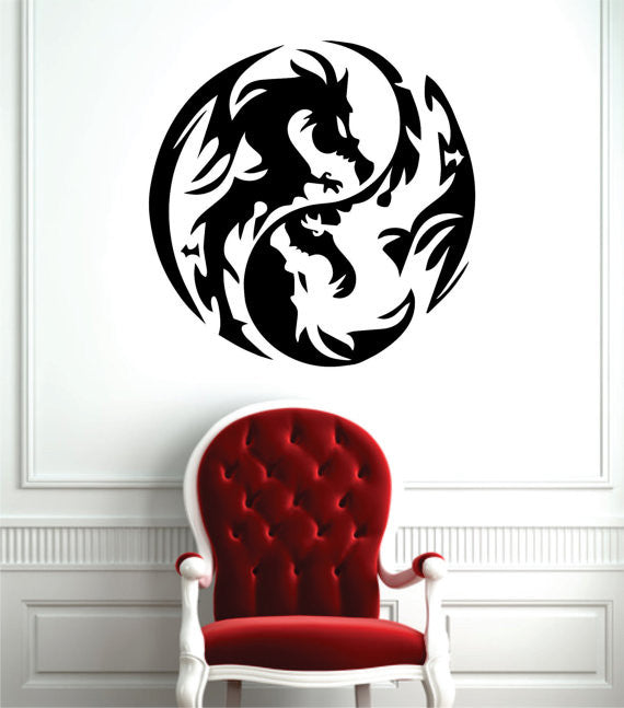 Dragon Fancy Yin And Yang Black Vinyl Decal