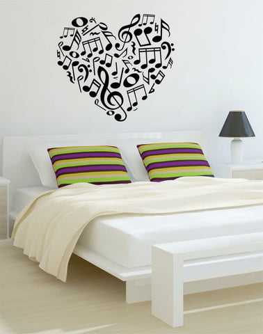 Music Notes Heart Decal Sticker Wall Vinyl - boop decals - vinyl decal - vinyl sticker - decals - stickers - wall decal - vinyl stickers - vinyl decals