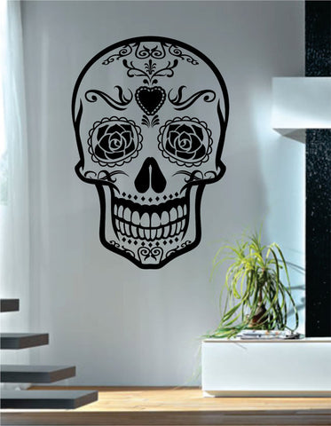 Sugar Skull Version 4 Art Decal Sticker Wall Vinyl - boop decals - vinyl decal - vinyl sticker - decals - stickers - wall decal - vinyl stickers - vinyl decals
