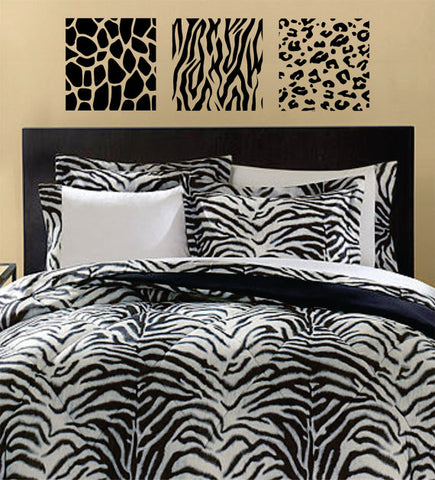 Animal Print 3 Box Panel Giraffe Zebra Leopard Design Animal Decal Sticker Wall Vinyl Decor Art - boop decals - vinyl decal - vinyl sticker - decals - stickers - wall decal - vinyl stickers - vinyl decals