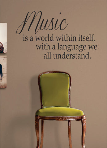 Music is a World Quote Decal Sticker Wall Vinyl Decor Art - boop decals - vinyl decal - vinyl sticker - decals - stickers - wall decal - vinyl stickers - vinyl decals