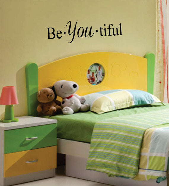 Be YOU tiful Quote Decal Sticker Wall Vinyl Decor Art – boop decals