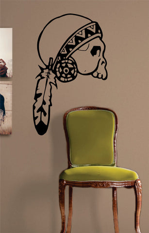Indian Skull Feather Art Decal Sticker Wall Vinyl - boop decals - vinyl decal - vinyl sticker - decals - stickers - wall decal - vinyl stickers - vinyl decals