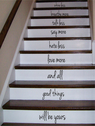 Whine Less Breathe More Stairs Decor Decal Sticker Wall Vinyl Art - boop decals - vinyl decal - vinyl sticker - decals - stickers - wall decal - vinyl stickers - vinyl decals