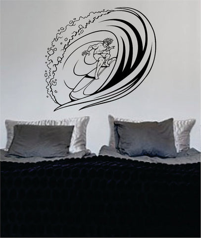 Surfer Riding a Wave Design Sports Decal Sticker Wall Vinyl