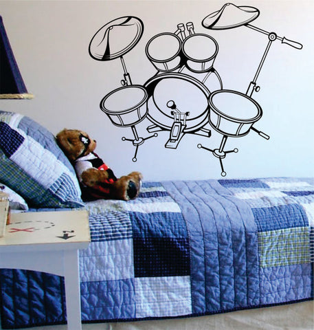 Drumset Version 4 Drummer Music Art Decal Sticker Wall Vinyl - boop decals - vinyl decal - vinyl sticker - decals - stickers - wall decal - vinyl stickers - vinyl decals