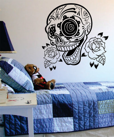 Sugar Skull and Roses Art Decal Sticker Wall Vinyl - boop decals - vinyl decal - vinyl sticker - decals - stickers - wall decal - vinyl stickers - vinyl decals