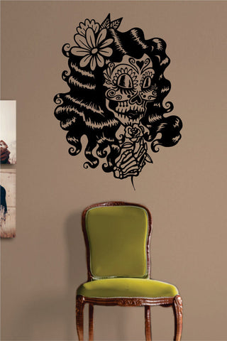 Day of the Dead Girl Version 3 Skull Art Decal Sticker Wall Vinyl - boop decals - vinyl decal - vinyl sticker - decals - stickers - wall decal - vinyl stickers - vinyl decals