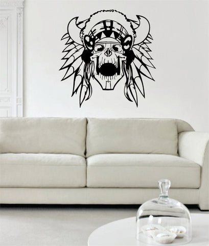 Indian Chief Skull Art Decal Sticker Wall Vinyl - boop decals - vinyl decal - vinyl sticker - decals - stickers - wall decal - vinyl stickers - vinyl decals