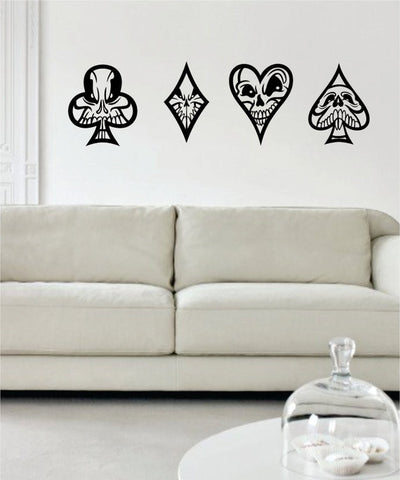 Skulls Playing Card Suits Art Decal Sticker Wall Vinyl - boop decals - vinyl decal - vinyl sticker - decals - stickers - wall decal - vinyl stickers - vinyl decals