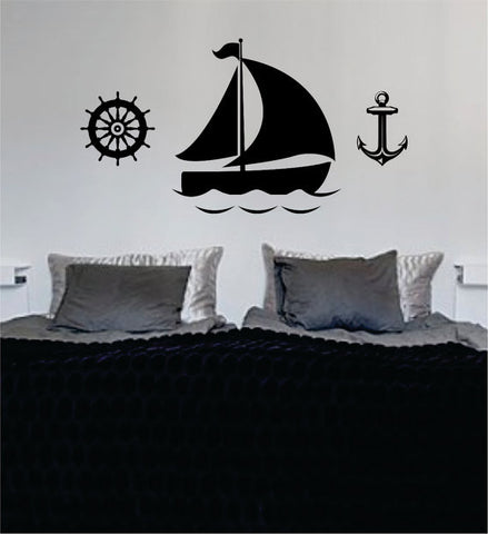Boat Anchor and Steering Wheel Nautical Ocean Beach Decal Sticker Wall Vinyl Art Decor - boop decals - vinyl decal - vinyl sticker - decals - stickers - wall decal - vinyl stickers - vinyl decals