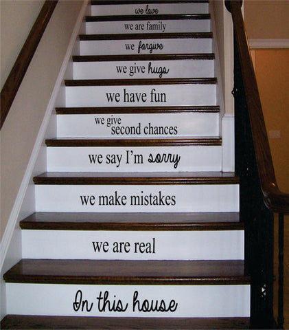 In This House Stairs Version 2 Decor Decal Sticker Wall Vinyl Art - boop decals - vinyl decal - vinyl sticker - decals - stickers - wall decal - vinyl stickers - vinyl decals