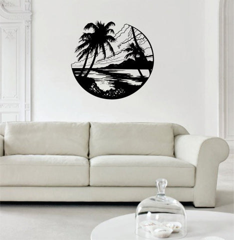 Beach Scene Ocean Palm Trees Design Decor Nature Decal Sticker Wall Vinyl Art - boop decals - vinyl decal - vinyl sticker - decals - stickers - wall decal - vinyl stickers - vinyl decals