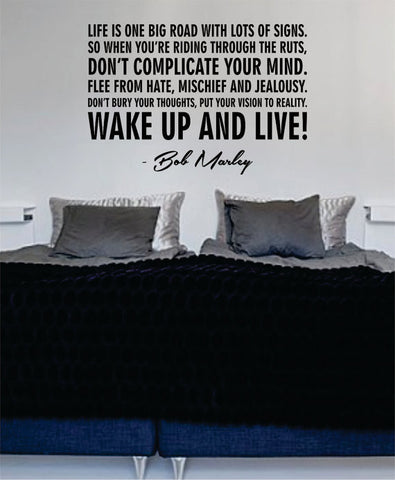 Bob Marley Wake Up and Live Decal Quote Sticker Wall Vinyl Art Decor - boop decals - vinyl decal - vinyl sticker - decals - stickers - wall decal - vinyl stickers - vinyl decals