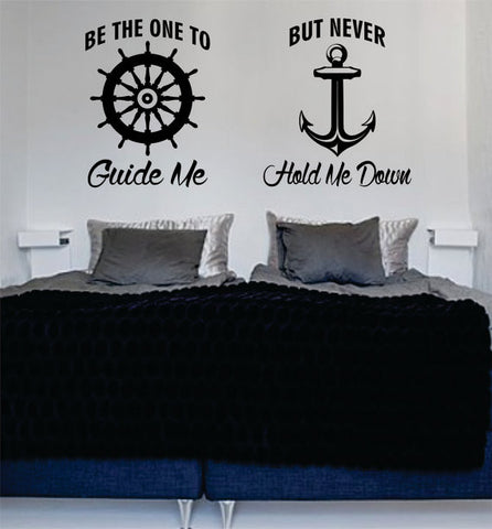Be The One to Guide Me Quote Anchor Boat Wheel Nautical Ocean Beach Decal Sticker Wall Vinyl Art Decor - boop decals - vinyl decal - vinyl sticker - decals - stickers - wall decal - vinyl stickers - vinyl decals