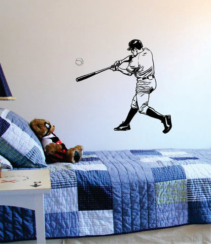 Baseball Player Batter Hitting Ball Sports Decal Sticker Wall Vinyl - boop decals - vinyl decal - vinyl sticker - decals - stickers - wall decal - vinyl stickers - vinyl decals