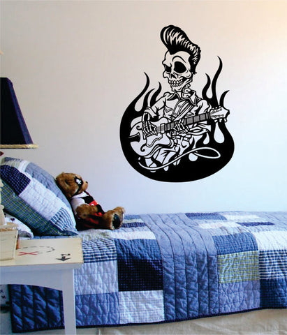 Greaser Skull Playing Guitar Music Art Decal Sticker Wall Vinyl - boop decals - vinyl decal - vinyl sticker - decals - stickers - wall decal - vinyl stickers - vinyl decals